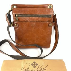 ☮️ Patricia Nash British tan brown crossbody bag